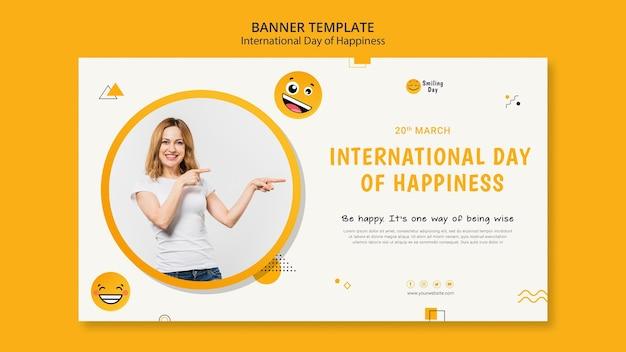 Międzynarodowy dzień szczęścia poziomy baner szablon ze zdjęciem