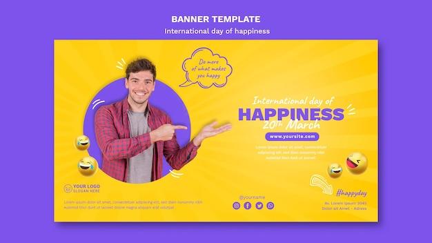 Międzynarodowy dzień szczęścia poziomy baner szablon
