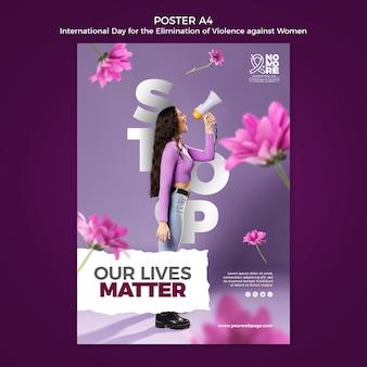 Międzynarodowy dzień walki z przemocą wobec kobiet plakat ze zdjęciem