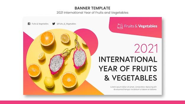 Międzynarodowy rok szablonu baneru owoców i warzyw