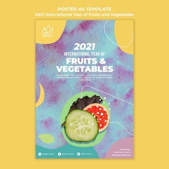 Międzynarodowy rok szablonu ulotki owoców i warzyw