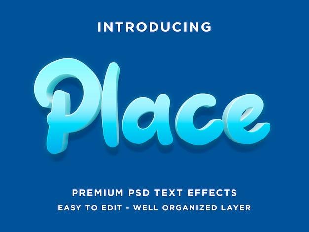 Miejsce - makieta 3d modern edytowalne efekty tekstowe psd