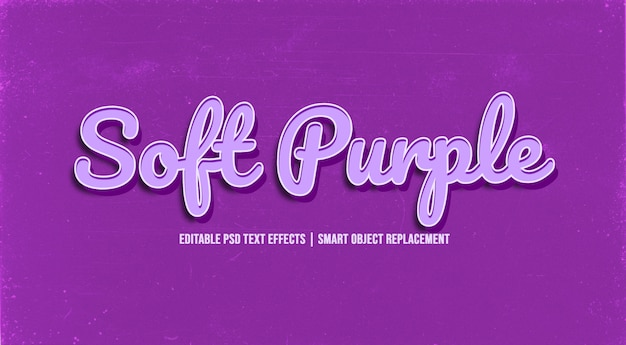 Miękki fioletowy efekt stylu tekstu 3d