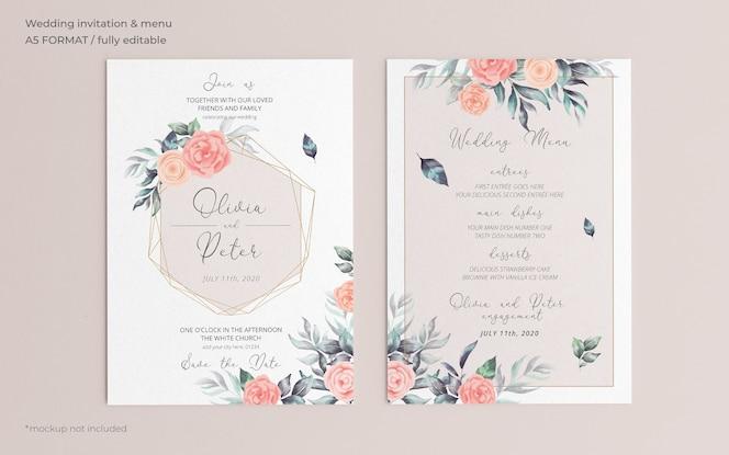 Miękkie zaproszenie na ślub kwiatowy i szablon menu