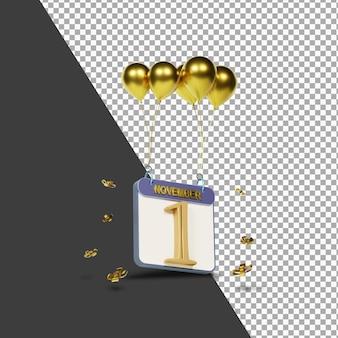Miesiąc kalendarzowy 1 listopada ze złotymi balonami renderowania 3d na białym tle