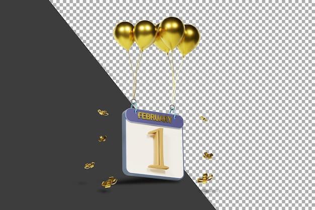 Miesiąc kalendarzowy 1 lutego ze złotymi balonami renderowania 3d na białym tle