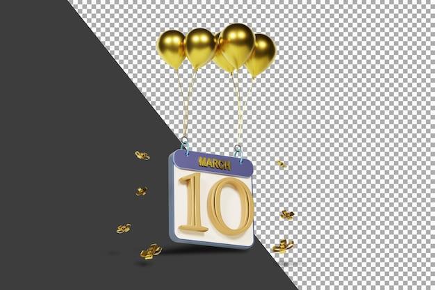 Miesiąc kalendarzowy 10 marca ze złotymi balonami renderowania 3d na białym tle