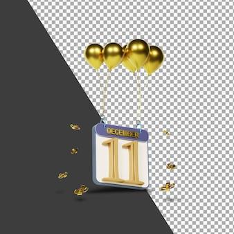 Miesiąc kalendarzowy 11 grudnia ze złotymi balonami renderowania 3d na białym tle