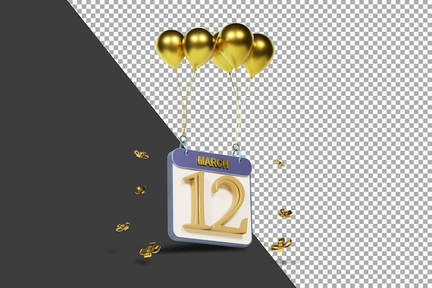 Miesiąc kalendarzowy 12 marca ze złotymi balonami renderowania 3d na białym tle