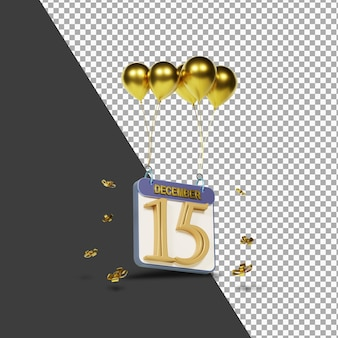 Miesiąc kalendarzowy 15 grudnia ze złotymi balonami renderowania 3d na białym tle