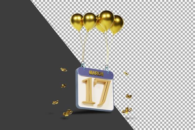 Miesiąc kalendarzowy 17 marca ze złotymi balonami renderowania 3d na białym tle