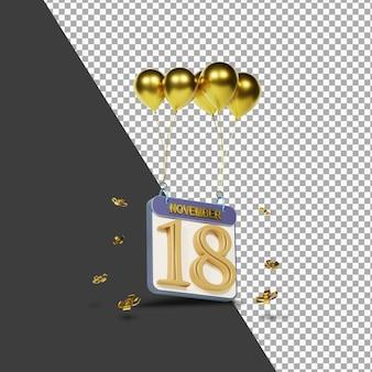 Miesiąc kalendarzowy 18 listopada ze złotymi balonami renderowania 3d na białym tle