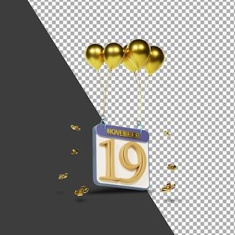 Miesiąc kalendarzowy 19 listopada ze złotymi balonami renderowania 3d na białym tle