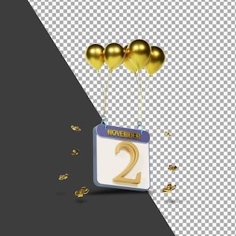 Miesiąc kalendarzowy 2 listopada ze złotymi balonami renderowania 3d na białym tle