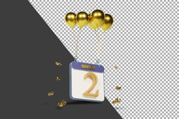 Miesiąc kalendarzowy 2 marca ze złotymi balonami renderowania 3d na białym tle