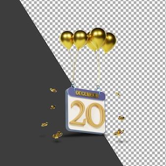 Miesiąc kalendarzowy 20 grudnia ze złotymi balonami renderowania 3d na białym tle