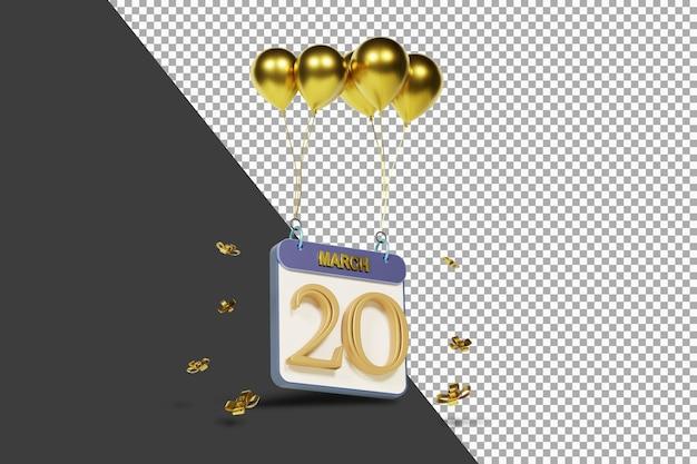 Miesiąc kalendarzowy 20 marca ze złotymi balonami renderowania 3d na białym tle