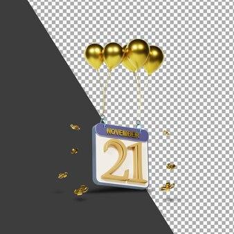 Miesiąc kalendarzowy 21 listopada ze złotymi balonami renderowania 3d na białym tle