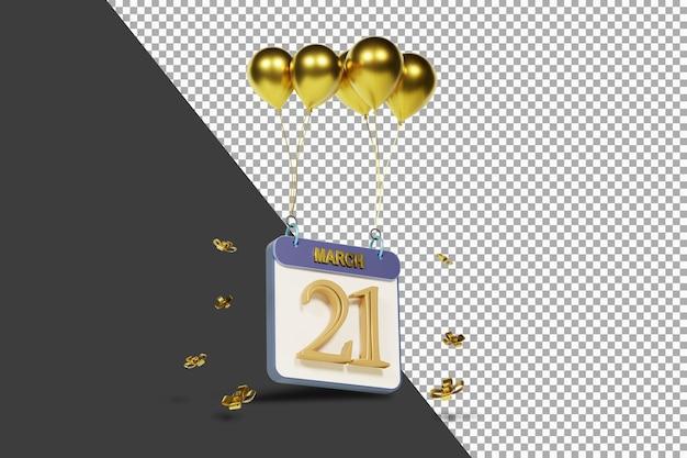 Miesiąc kalendarzowy 21 marca ze złotymi balonami renderowania 3d na białym tle