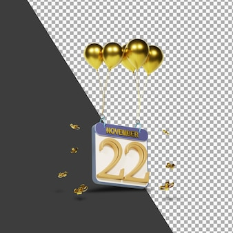 Miesiąc kalendarzowy 22 listopada ze złotymi balonami renderowania 3d na białym tle