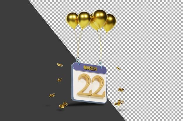 Miesiąc kalendarzowy 22 marca ze złotymi balonami renderowania 3d na białym tle