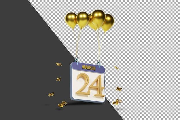 Miesiąc kalendarzowy 24 marca ze złotymi balonami renderowania 3d na białym tle