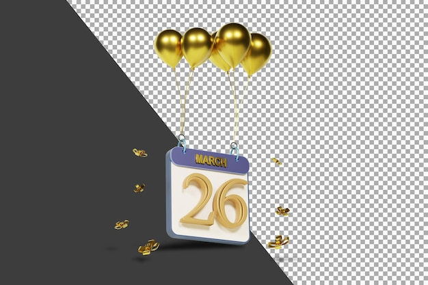 Miesiąc kalendarzowy 26 marca ze złotymi balonami renderowania 3d na białym tle