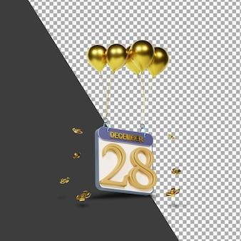 Miesiąc kalendarzowy 28 grudnia ze złotymi balonami renderowania 3d na białym tle