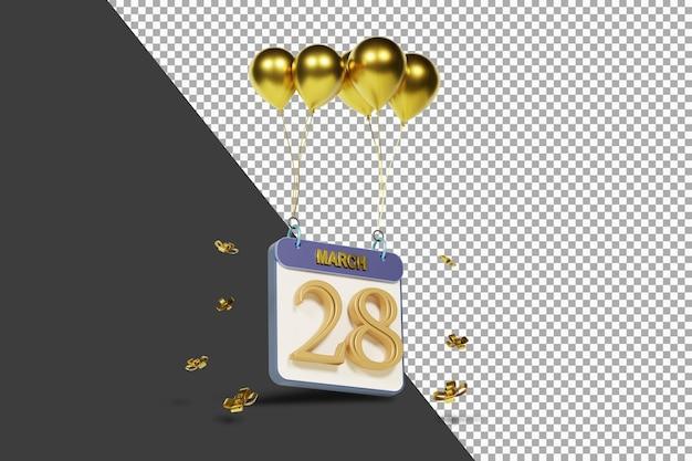 Miesiąc kalendarzowy 28 marca ze złotymi balonami renderowania 3d na białym tle