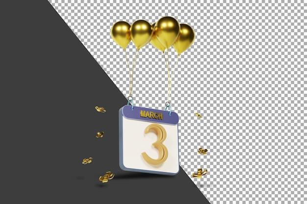 Miesiąc kalendarzowy 3 marca ze złotymi balonami renderowania 3d na białym tle