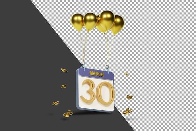 Miesiąc kalendarzowy 30 marca ze złotymi balonami renderowania 3d na białym tle