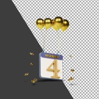 Miesiąc kalendarzowy 4 grudnia ze złotymi balonami renderowania 3d na białym tle