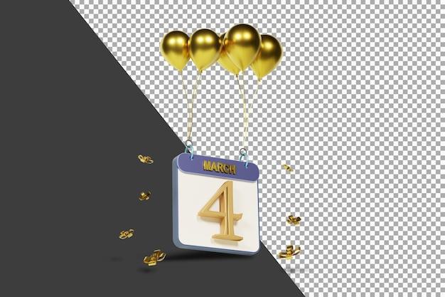 Miesiąc kalendarzowy 4 marca ze złotymi balonami renderowania 3d na białym tle