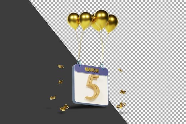 Miesiąc kalendarzowy 5 marca ze złotymi balonami renderowania 3d na białym tle
