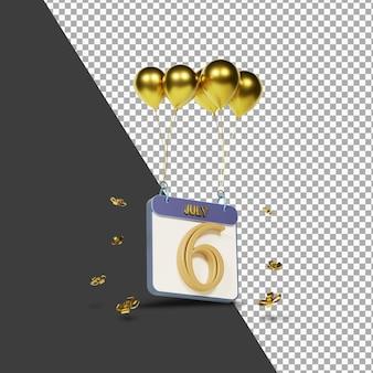 Miesiąc kalendarzowy 6 lipca ze złotymi balonami renderowania 3d na białym tle