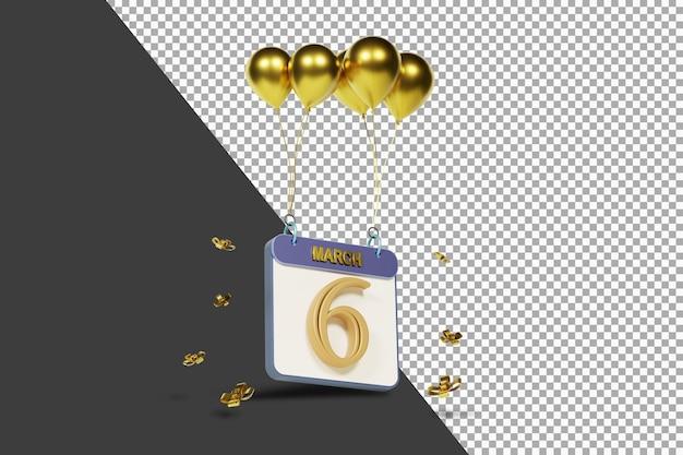 Miesiąc kalendarzowy 6 lutego ze złotymi balonami renderowania 3d na białym tle