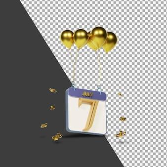 Miesiąc kalendarzowy 7 lipca ze złotymi balonami renderowania 3d na białym tle