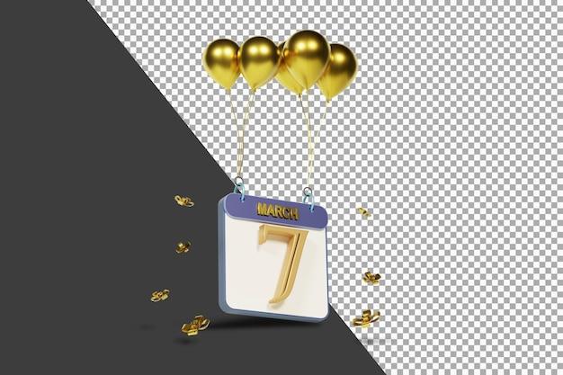 Miesiąc kalendarzowy 7 marca ze złotymi balonami renderowania 3d na białym tle