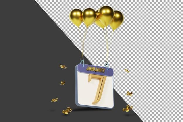 Miesiąc kalendarzowy 7 stycznia ze złotymi balonami renderowania 3d na białym tle