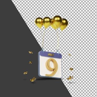 Miesiąc kalendarzowy 9 lipca ze złotymi balonami renderowania 3d na białym tle