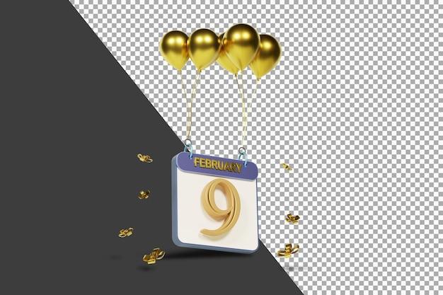 Miesiąc kalendarzowy 9 lutego ze złotymi balonami renderowania 3d na białym tle