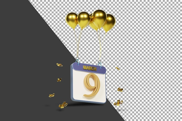 Miesiąc kalendarzowy 9 marca ze złotymi balonami renderowania 3d na białym tle