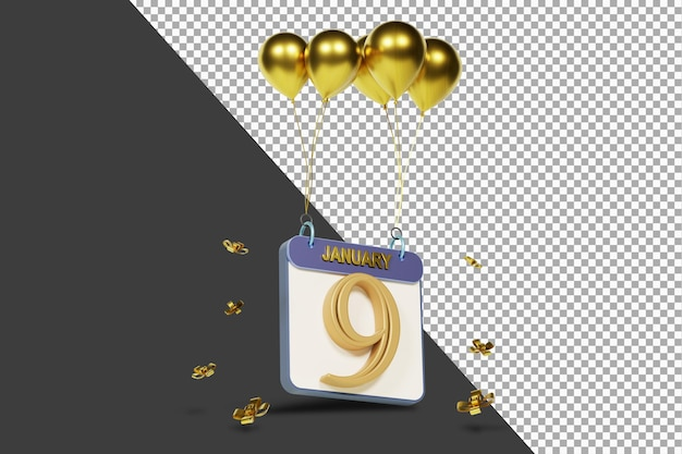 Miesiąc kalendarzowy 9 stycznia ze złotymi balonami renderowania 3d na białym tle