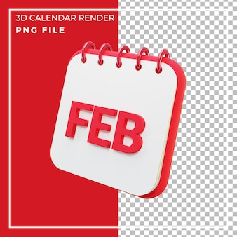 Miesiąc kalendarzowy renderowania 3d luty