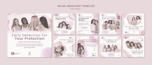 Miesiąc świadomości raka piersi i zestaw postów