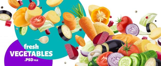 Mieszanka spadających różnych warzyw