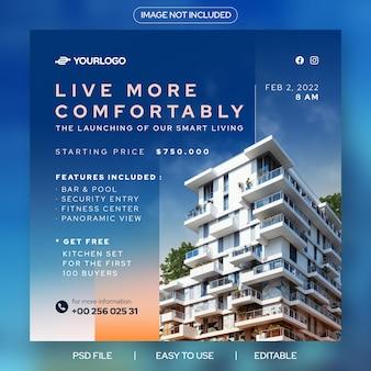 Mieszkanie nieruchomości uruchamia nowoczesny szablon banera postu na instagram
