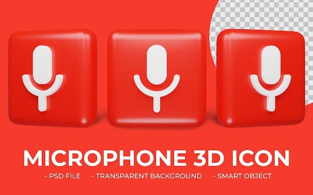 Mikrofon ikona renderowania 3d na białym tle