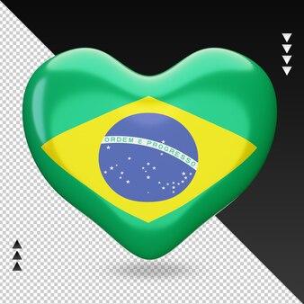 Miłość flaga brazylii palenisko 3d renderowania widok z przodu