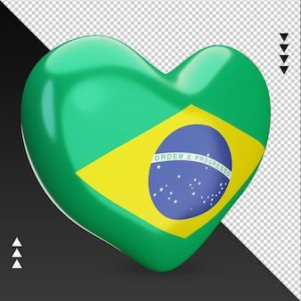 Miłość flaga brazylii palenisko renderowania 3d lewy widok